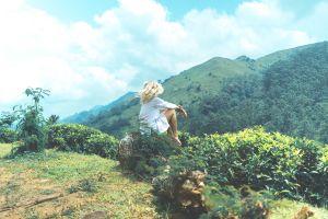 sitting marvin meyer women green windy model sunlight cyan women outdoors back blonde clouds bright forest hills