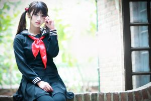 sitting women long hair school uniform pigtails twintails model asian