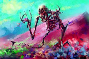 skeleton flowers artwork digital art mountains