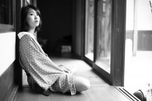 skirt monochrome photography pyjamas japanese art sitting