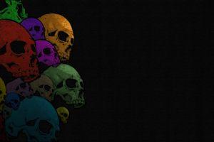 skull colorful bones black background