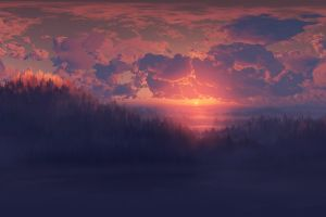 sky clouds artwork digital art dark sunlight landscape nature sunset