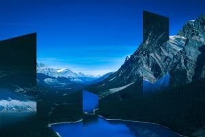 sky mountains forest artwork clouds glitch art lake