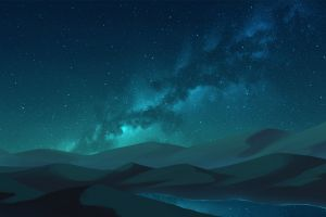 sky river mountains stars