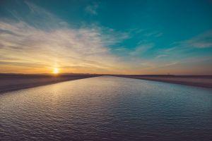 sky river sunset sunlight