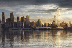 skyscraper city render manhattan hudson river new york city