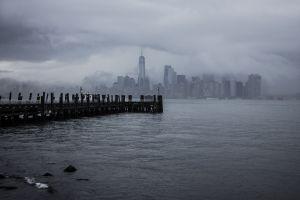 skyscraper mist freedom tower clouds water manhattan architecture building pier usa new york city cityscape