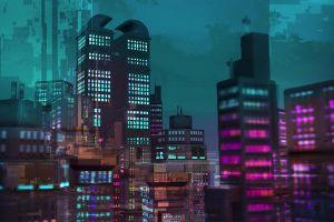 skyscraper retrowave blue cityscape purple retro style pink