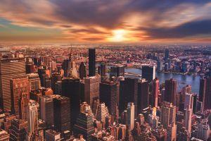 skyscraper sky new york city city sunset cityscape manhattan