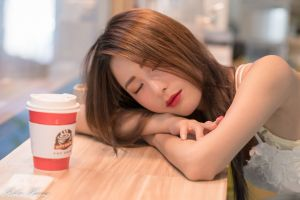 sleeping brunette women indoors closed eyes painted nails women model asian