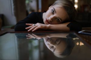 smartphone face aleks five bokeh short hair women portrait reflection closed eyes model cellphone mirror blonde looking at viewer indoors