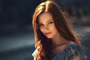 smiling alexandra girskaya women sunlight long hair face model red lipstick portrait mwl photo 500px