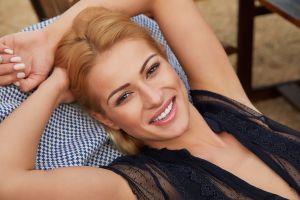 smiling chair women see-through blouse cherry kiss sex-art blonde long hair towel brown eyes