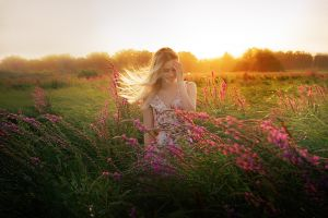 smiling depth of field dress lens flare model flowers touching face women outdoors windy outdoors women sunset cleavage blonde alexander drobkov