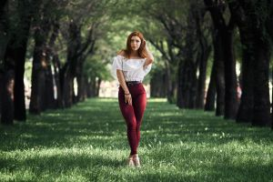 smiling outdoors trees belt model women alexander kan depth of field portrait touching hair looking at viewer women outdoors redhead jeans bare shoulders
