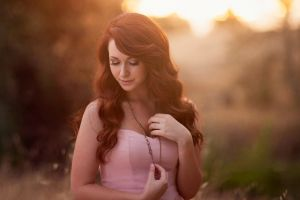 smiling photography backlighting redhead long eyelashes closed eyes model women outdoors women pink dress long hair