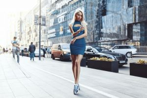 sneakers tight dress blonde