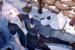 snow long hair anime blue eyes stockings anime girls