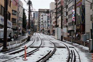 snow railway tokyo japan