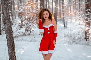 snow touching hair grigoriy lifin looking at viewer women alina zaslavskaya outdoors red dress trees christmas brunette model women outdoors santa girl winter