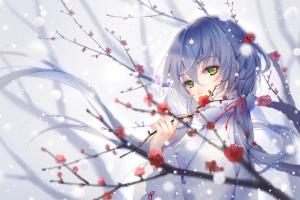 snow women winter anime girls digital art artwork painting