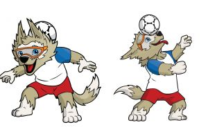 soccer ball wolf simple background mascot fifa world cup zabivaka