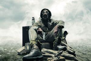 soldier gas masks gun dieselpunk