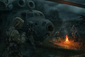 soldier shooting weapon fan art s.t.a.l.k.e.r. science fiction illustration video games apocalyptic helicopter