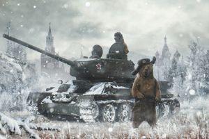 soldier winter military tank artwork snow bears vehicle