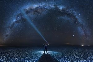 space landscape lights milky way stars long exposure photography night