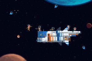 space spaceship pixels pixel art stars pixelated astronaut planet