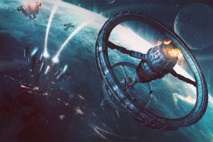 space station digital art planet space science fiction