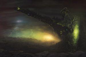 spaceship artwork dark dmitrii ustinov science fiction