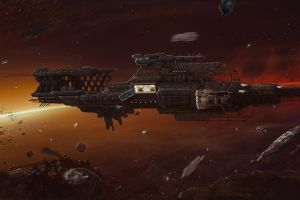 spaceship artwork science fiction dmitrii ustinov vehicle