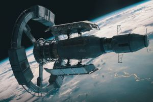 spaceship planet science fiction orbital view space