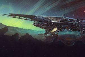 spaceship vehicle science fiction artwork dmitrii ustinov