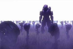 spartan ii video games master chief purple haze helmet halo soldier video game art graveyards