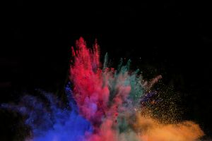 splashes colorful black powder