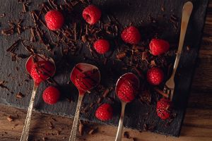 spoon raspberries chocolate fruit food berries