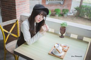 spoon sitting women dark hair women with hats looking at viewer asian brunette tea party