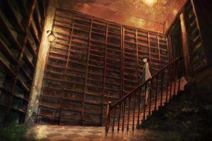 stairs anime girls books anime grasoso anime girls anime grasoso anime