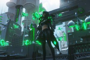 standing cyber city digital art futuristic women green city