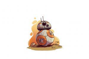 star wars star wars droids minimalism white background simple background artwork derek laufman digital art bb-8
