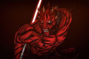 star wars star wars villains 2016 (year) horns simple background lightsaber darth maul red background artwork sith