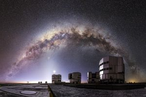 starry night milky way atacama desert building nature telescope moonlight chile night stars observatory moon landscape