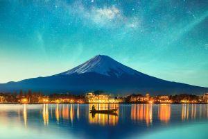 stars city vehicle mountains landscape photography hill boat lake reflection