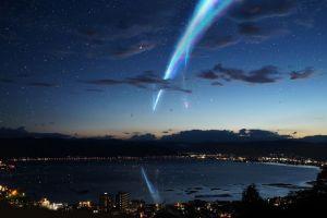 stars lake your name sky night kimi no na wa city lights