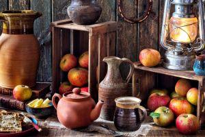still life apples food lantern