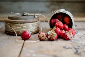 still life fruit strawberries wooden surface food