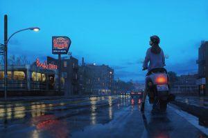 street light rear view tamaki (artist) land cruiser rain scooters road artwork reflection car mopeds city rap